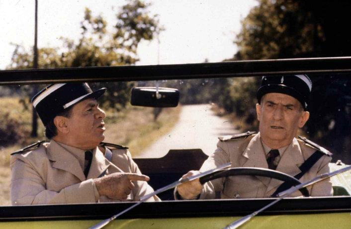 Michel Galabru, le gendarme Gerber, aux côtés de Cruchot (Louis de Funès)